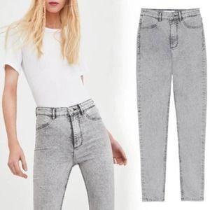 Zara High Waist Acid Wash Skinny Jeans Size 8